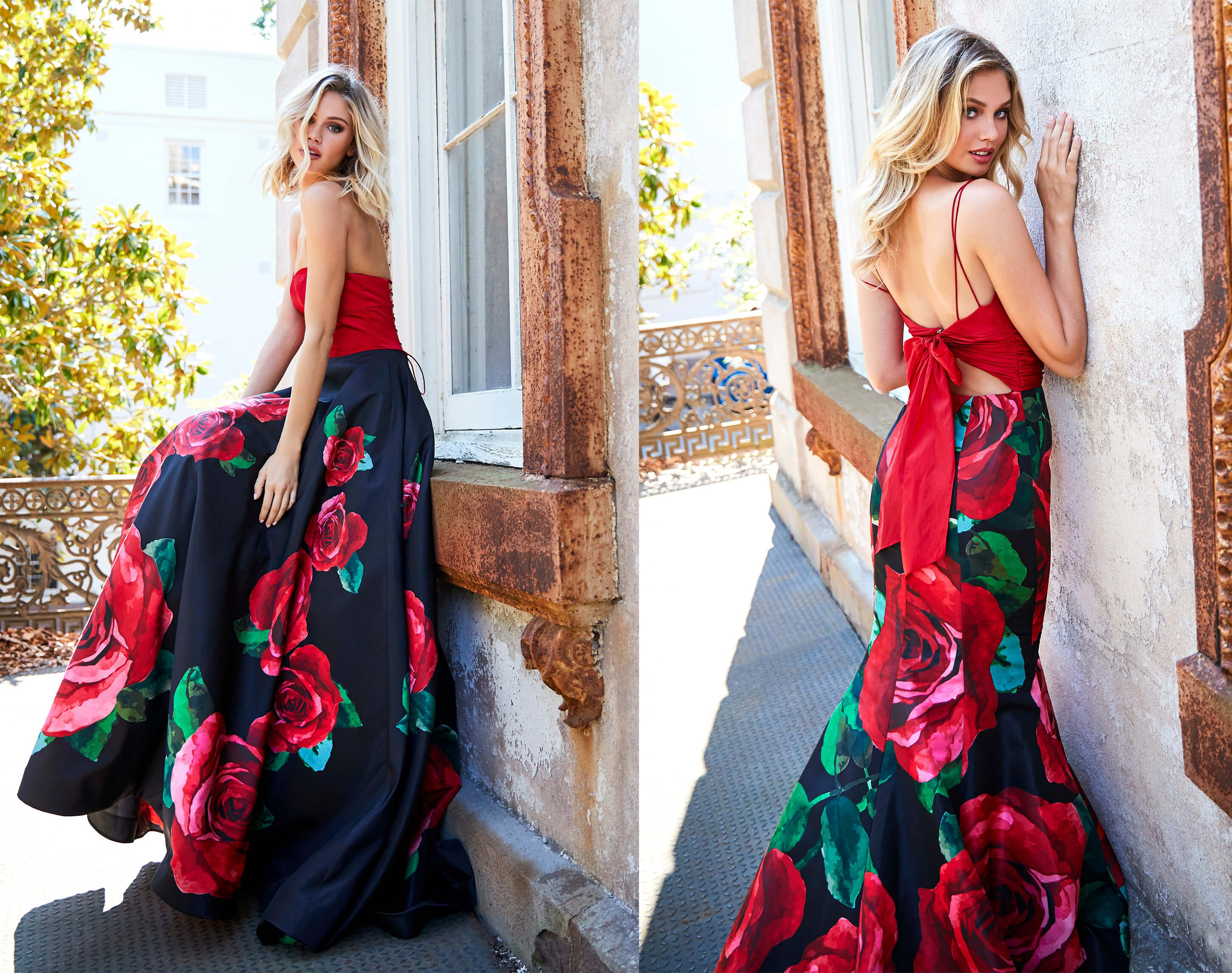 sherri hill spring 2019 rose print prom dress chantilly lace bridals blacksburg virginia