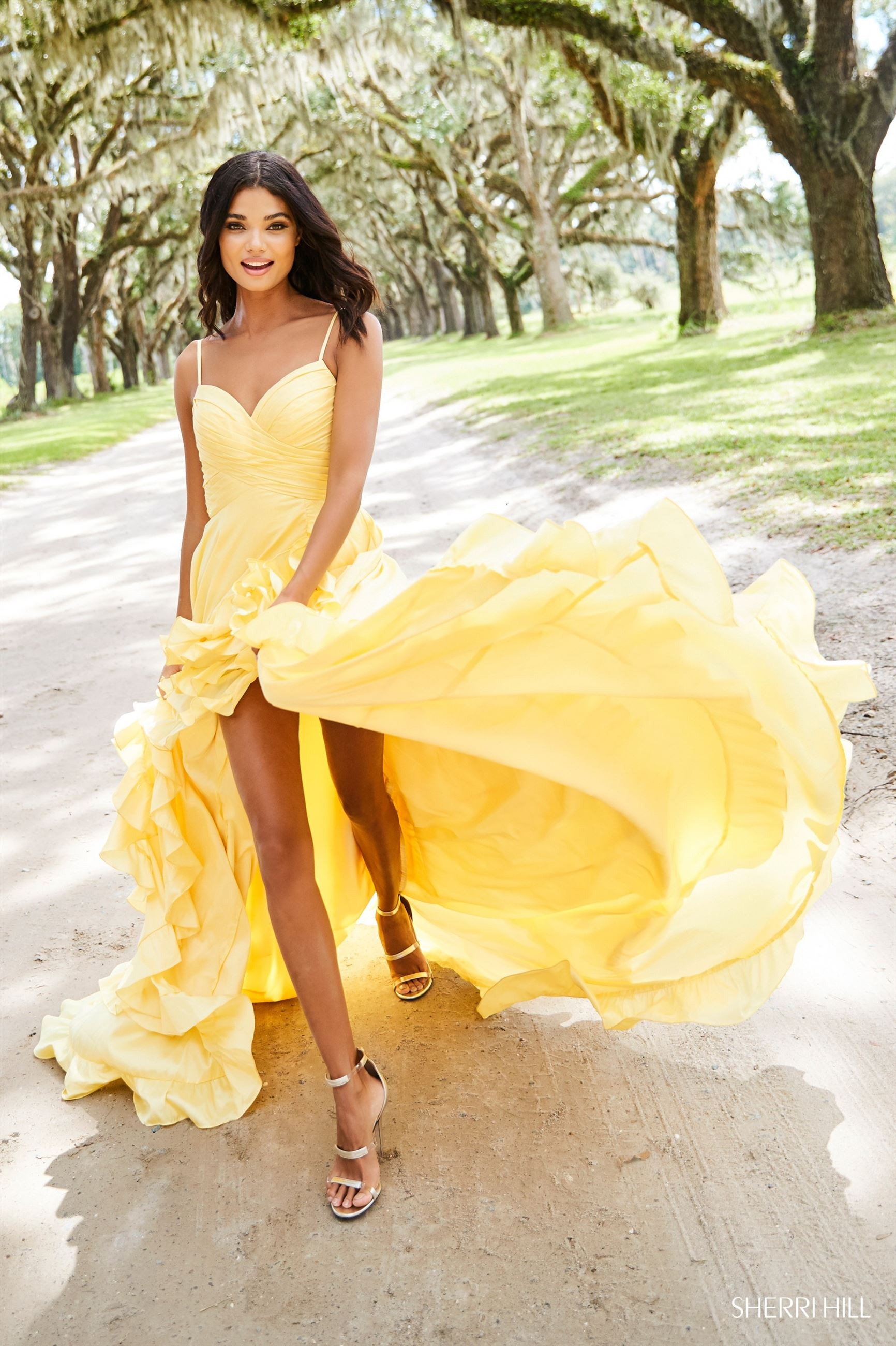 sherri hill yellow prom dress spring 2019 chantilly lace bridals blacksburg virginia